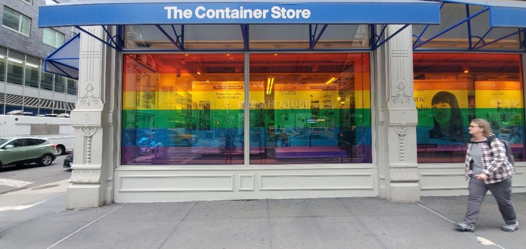 The Container Store pride window display 2021