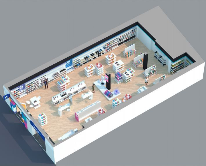 Nuevo concepto tienda DOMTI ZIP render vista en perspectiva en colaboración con Roberto Caprasecca